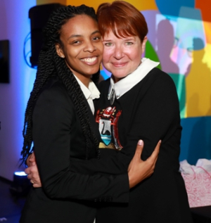 "3Arts awardee Brittany ""BrittanE"" Edwards and Executive Director Esther Grisham Grimm"