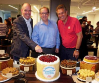 Tribune's Tim Knight and Bruce Dold celebrate move with Eli's Cheesecake's Marc Schulman