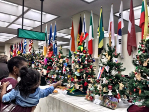 """Christmas Trees from Around the World"" display"