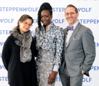 Steppenwolf artistic director Anna D. Shapiro, honoree Danai Gurira, Steppenwolf executive director David Schmitz