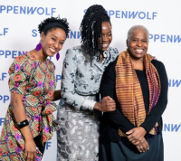 Honoree Danai Gurira with Steppenwolf cast members from her play Familiar, Steppenwolf ensemble member Celeste M. Cooper and Cheryl Lynn Bruce