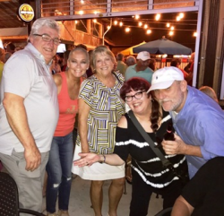 At pre-reunion party at Good Times with Paul Weber, Leslie Sopp, Marsha Bieber English and Rod Lavender