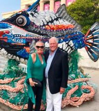 With Chuck in front of a Washed Ashore Project sculpture