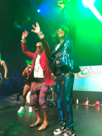 Andrew Landan onstage with Redfoo!