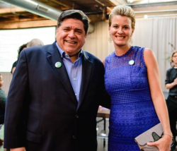 A New Direction Board President Jessica McCarihan with JB Pritzker
