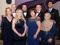 Nora and John Hanlon, MD (pres/CEO of LCMH) and Christopher Vandenberg with event co-chairs Peggy and Jim McKeever and Uzma and Hamid Nazeer