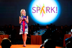 Joanne C. Smith, MD, pres/CEO, addresses Spark! attendees