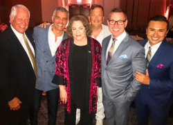 Kathleen Turner with Chuck Jordan, Jim Karas, Paul Iacono, Kip Helverson and Trey Gonzalez.