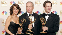 13 time Emmy Award winner Lorne Michaels with Tina Fey and writer Dennis McNicholas