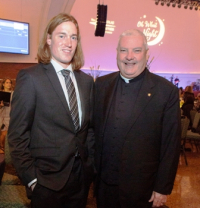 Speaker Matthew Shay with Monsignor Michael M. Boland