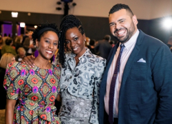 Steppenwolf ensemble member Celeste M. Cooper, honoree Danai Gurira, Steppenwolf education manager Jared Bellot