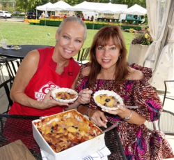 With Eli's Cheesecake's Maureen Schulman and Mary's cobbler.