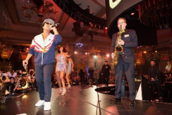 Ken Arlen and his Evolution Orchestra onstage with Bruno Mars at exclusive private party at Bellagio Las Vegas