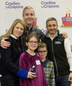 Neill Jakobe (far L) (Office Managing Partner at Ropes & Gray) and Stacey Jakobe (C2C Corporate Advisory Council member), and family, with Bernard Cherkasov (C2C Chief Operating Officer)