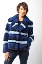 Blue-striped mink jacket worn by Erin Martorina