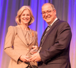 Daniel L. Goodwin Watchdog Award honoree Christie Hefner and BGA CEO David Greising