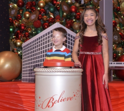 Angelica Hale and Make-A-Wish child Ethan helps Macy's at its Believe Campaign launch.