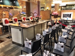 Chic and charming Valentine's Day showroom setup