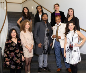 "3Arts Awardees: [Back row] Hương Ngô, Brittany ""BrittanE"" Edwards, Dianna Frid, Leida ""Lady Sol"" Garcia. [Front row] Christine Pascual, Anna Martine Whitehead, Elgin Bokari T. Smith, T. Ayo Alston and Sandra Delgado."
