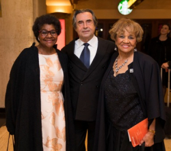 Sheila Jones (Director of CSOA's African American Network); Riccardo Muti (Zell Music Director) and Barbara Wright Pryor