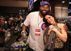 Israel Idonije and Sarah Wood.