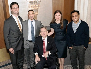Medal of Valor Awardees Daniel Pincus  Justin Hefter  Megan Hallahan and Mohammed Al Samawi pictured with Senator Mark Kirk