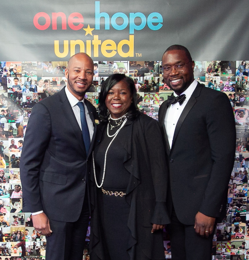 Illinois Representative Lamont J. Robinson Jr. (5thDistrict) with One Hope United's Chairwoman  Theresa A. Dear  and President andCEO Charles A. Montorio-Archer.
