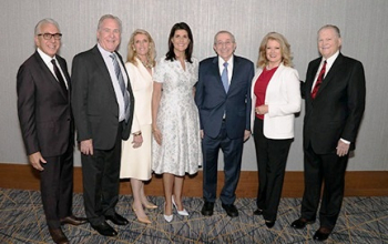 Robert Hartman  SWC Trustee  Stuart Isen  SWC Trustee  Dawn Arnall  SWC Trustees and chair MOTJ Capital Campaign  Nikki Haley  Rabbi Hier and SWC Trustees  Mary Hart and Burt Sugarman