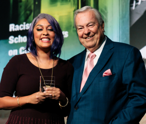 Image08_Dr. Eve L. Ewing and Host Bill Kurtis at CSLA -- Photo Credit Kyle Flubacker