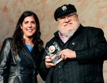 Image09_ Event Chair Jenny Friedes and Author George R.R. Martin at CSLA -- Photo Credit Kyle Flubacker