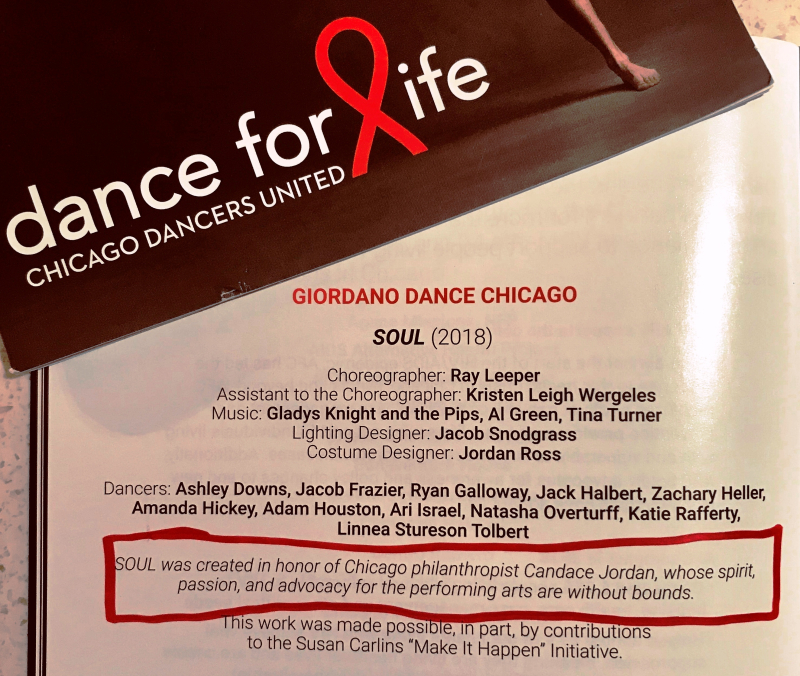 Dance for Life program book with my SOUL credit 2019