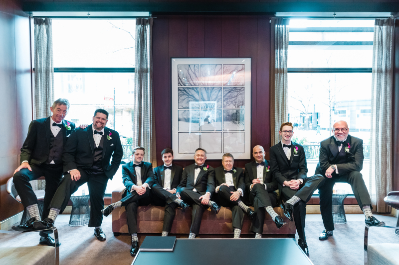 Our bridemen in showing off their bowtie socks from the local Tie Bar as we sourced as locally as possible for all things
