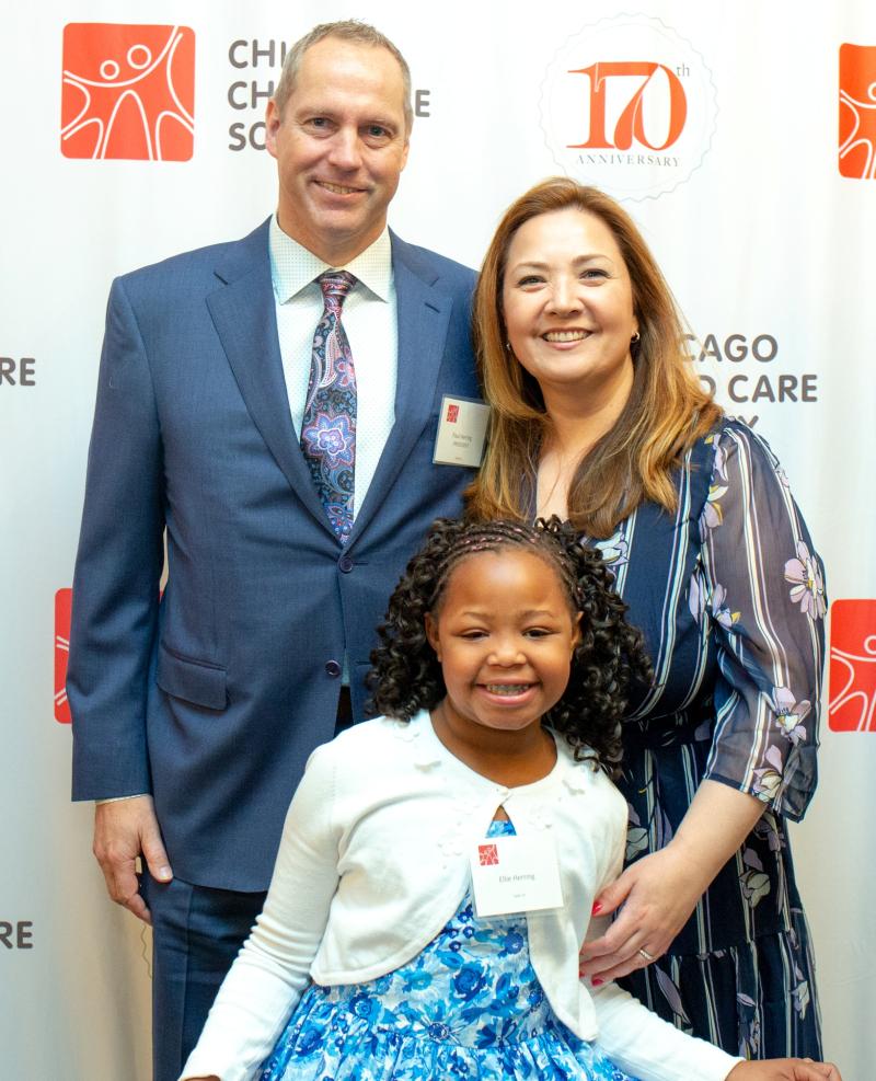 Board President Paul Herring  wife Kanna Herring and daughter Ellie Herring