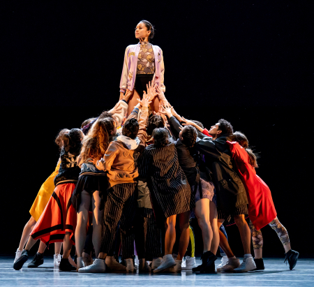 Joffrey Artist Jeraldine Mendoza and ensemble_Photo by Cheryl Mann--The Times Are Racing  Justin Peck's piece speaks to the power of people coming together to support each other in difficult times.