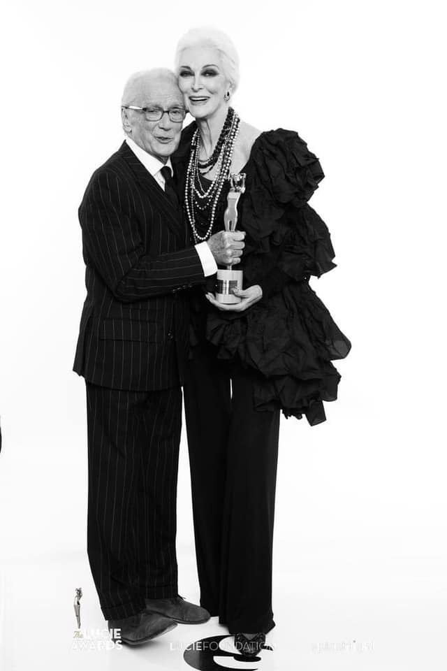 Victor winner of the Lucie award for 'Outstanding Achievement in Fashion' and model Carmen Dell'Orefice at 11th Annual Lucie Awards at Zankel Hall  Carnegie Hall on October 27  2013 in NYC