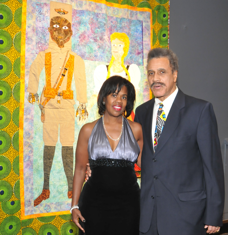 Artist Dorthy Straughter and John Straughter stand in front of Dorthy's work_John Wheeler  Museum of Science and Industry  Chicago