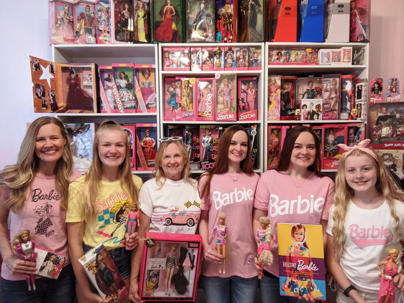 Three generations of Barbie fans  all family members--Denise  Sophia and Camilla Person  with Darlene Lovisa  Dina Dennis and Gina Bollenbach.