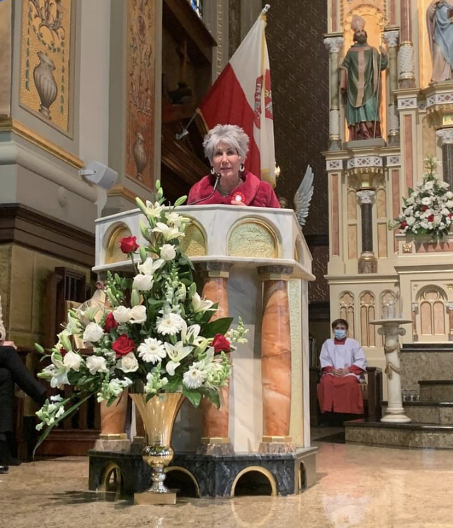 Maria Pappas at Holy Trinity Church during Polish Heritage Month.