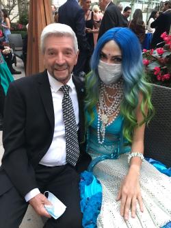 Tom Dreesen with mermaid Caroline Koch.